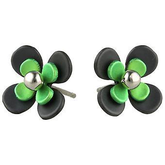 Ti2 Titanium Black zurück vier Blütenblatt Blume Ohrstecker - frisches Grün