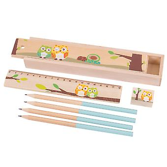 Bigjigs Toys Owl Pencil Box with Pencils, Ruler and Sharpener