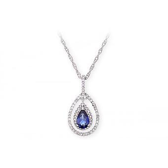 Colar de prata esterlina alianças estrela com pedra pingente joia de safira e diamantes