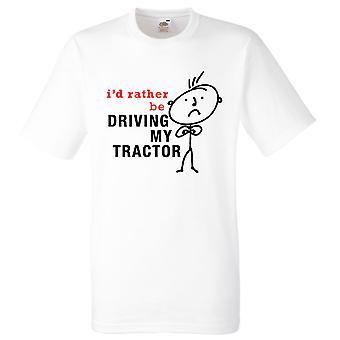 Mens que eu preferia estar dirigindo meu trator branca Tshirt