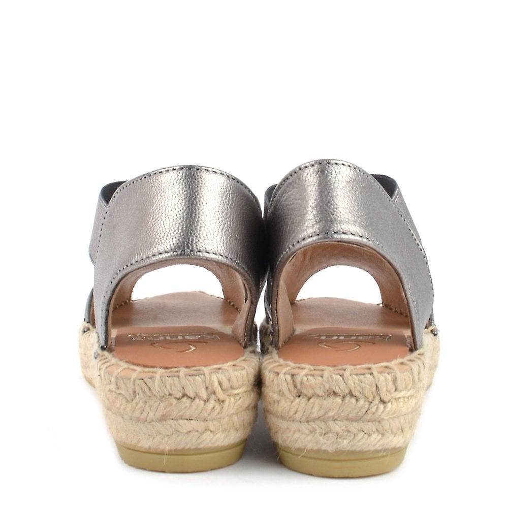 Kanna Ada Metallic Silver Flat Espadrille Sandal
