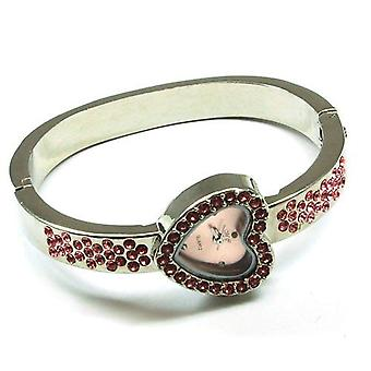 Olivia samling Silver Tone Cz Pink Heart Bangle Ladies kjole ur