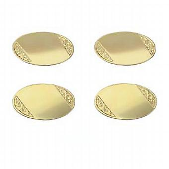 9ct Gold 19x11mm oval hand engraved chain Cufflinks