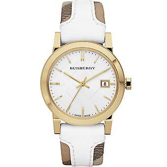 Burberry Bu9015 unisexe grande vérification bande de cuir sur tissu montre