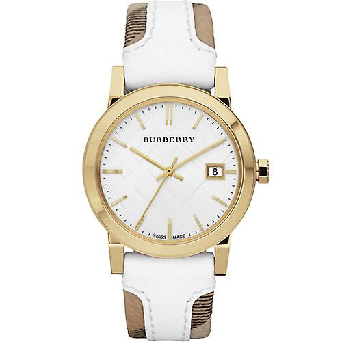 Burberry Bu9015 Unisex Large Check Leather Strip On Fabric Watch