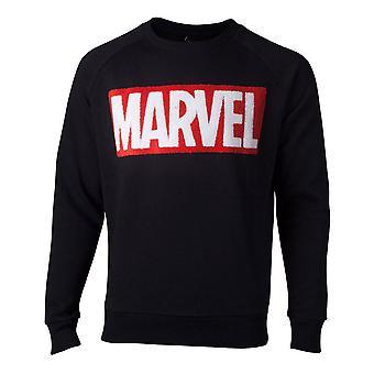 Marvel Pullover chenille Box logo menns genser svart X-Large (SW806672MVL-XL)