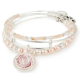 Alex and Ani Rose Art Infusion Set of Three Bangle Bracelets - Shiny Silver - A18SETRSSS