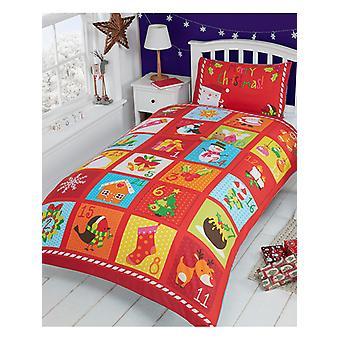 Couverture de couette simple de Noel de l'Avent et ensemble de taie d'oreiller