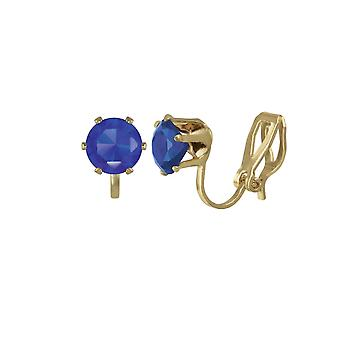 Eternal Collection Tara Sapphire Blue Crystal Gold Tone Stud Clip On Earrings