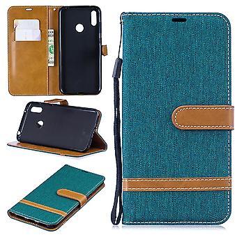 Huawei Y7 2019 Handy-Hülle Schutz-Tasche Case Cover Kartenfach Etui Wallet Grün