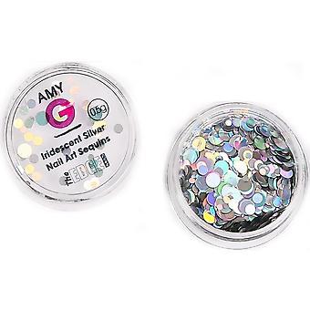 De rand nagels Amy G-iriserende Nail Art pailletten-zilver 0.5 G (3003075)