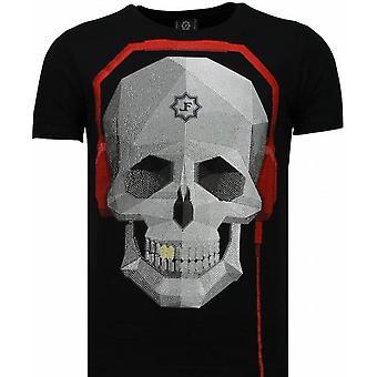 Skull Bring The Beat - Rhinestone T-shirt - Zwart