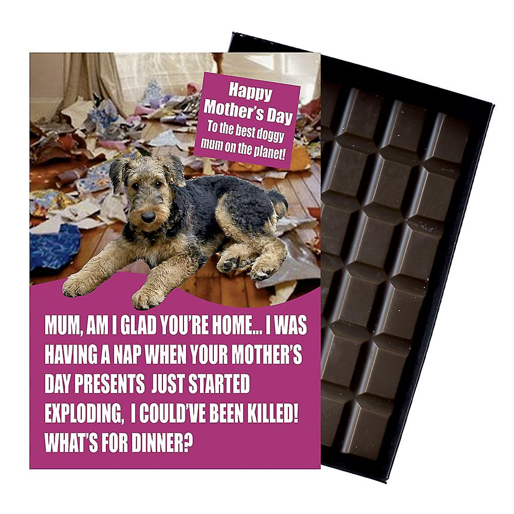 Airedale Terrier Dog Lover  Mother's Day Gift Chocolate Present For Mum Novelty