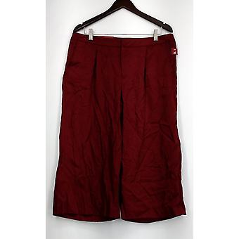 Merona Pants Capri Style Pleated Front Pull-on Wine Red Womens