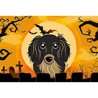 Halloween Longhair Black and Tan Dachshund Fabric Placemat