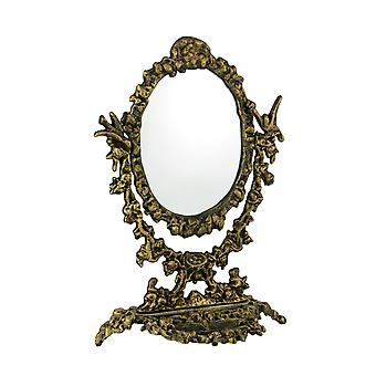 Antique Gold Cast Iron Vintage Victorian Swivel Vanity Mirror