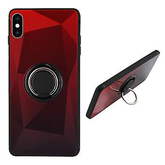 BackCover Ring / Magneet Aurora iPhone Xs Rood+Zwart