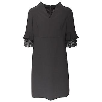 Paola Collection Shimmering Bell Sleeve Black Shift Dress