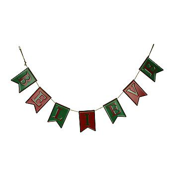 Red and Green Enamel Metal Believe Banner Christmas Rope Garland Holiday Decor