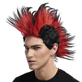 Dobbel Mohawk pigge svart rød 1980-årene-70s Punkrocker Mohican Mens kostyme parykk
