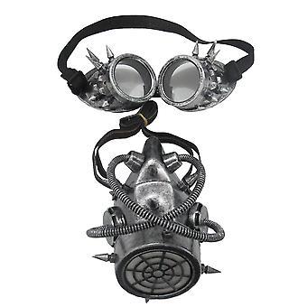 Steampunk Apocalypse WwII Silver Science Fiction Mens Costume Maschera & Occhiali