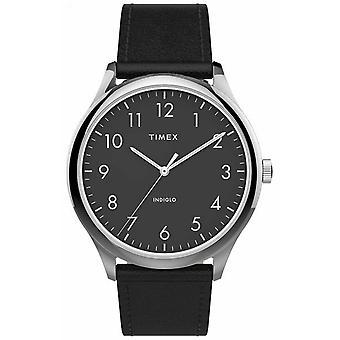 Timex | Easy Reader 40mm | Bracelete em pele preta | Mostrador preto | TW2T71900 assistir