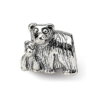 925 Sterling Silver Polished Reflections Mama Baby Bear Bead Charm Pendant Necklace Jewelry Gifts for Women