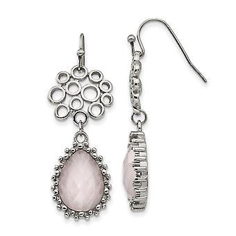 Edelstahl poliert Rose Quarz Schäferhaken Ohrringe Schmuck Geschenke für Frauen