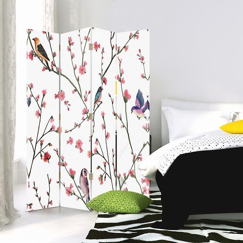 Diviseur de chambre, 4 panneaux, double-sided, Rotatable 360, toile, oiseaux