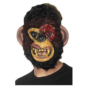 Maschera scimpanzé zombi da uomo con accessorio di Halloween in pelliccia