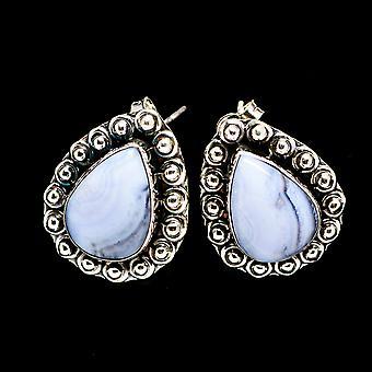 Blue Lace Agate 925 Sterling Silver Earrings 3/4