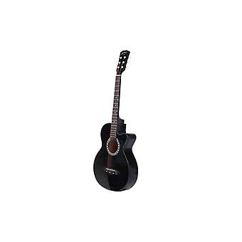 38インチ木製アコースティックギターブラック