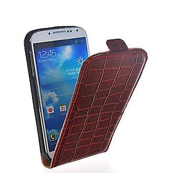 Galaxy S4 shell case crocodile vertical leather red