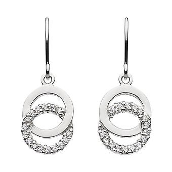 Dew Silver Double Open Circle With Cubic Zirconia Drop Earrings 5819CZ022