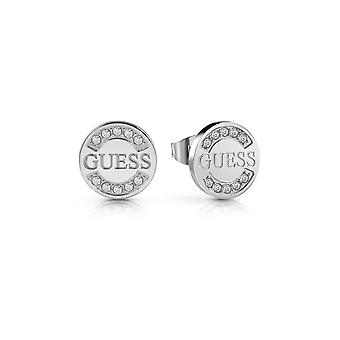 Guess Jewellery Guess Logo Coin Stud Silver Earrings UBE28028
