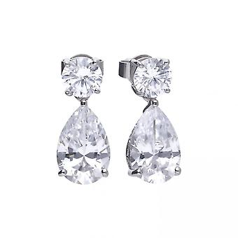 Diamonfire Silver White Zirconia Teardrop Shape Earrings E5596