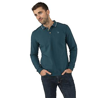 Lighthouse Pier Mens Long Sleeved Polo Blue Steel