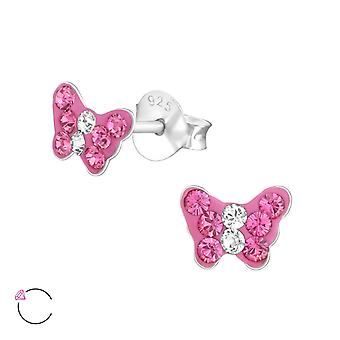 Papillon - 925 Sterling Silver Crystal Ear Studs - W37655X