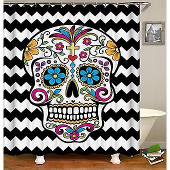 Sugar Skull Black & White Chevron Shower Curtain