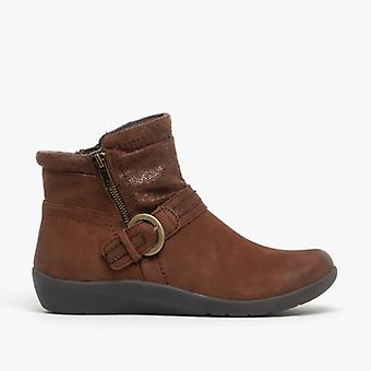 Earth Spirit Fairfax Ladies Nubuck Leather Ankle Boots Bark