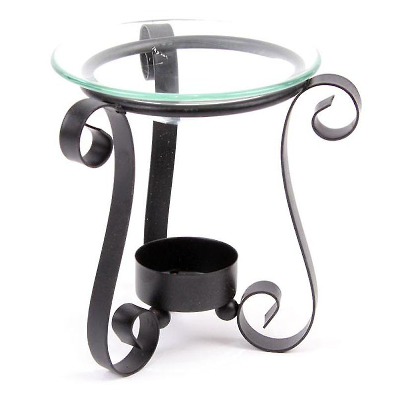 Three Legged Black Metal Oil Burner with Glass Dish
