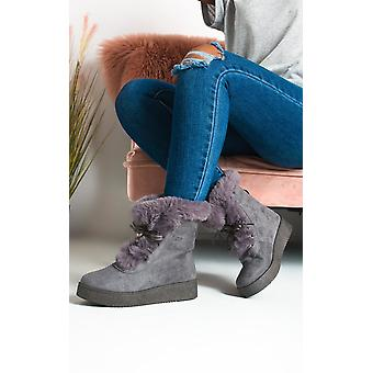 IKRUSH Womens Keren Faux Fur Lace Up Ankle Boots