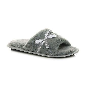Ajvani womens winter memory foam fluffy fur lined spa mule bow slippers