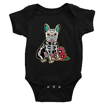 Frenchie Day Of Dead Funny Halloween Costume Cute Baby Bodysuit Gift Black