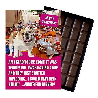 Anglais Bulldog Funny Christmas Gift For Dog Lover Boxed Chocolate Greeting Card Xmas Présent