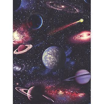 Planetas Espaciais Papel de Parede Multi Rasch 815429