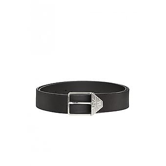 Emporio Armani Buckle Leather Black Belt