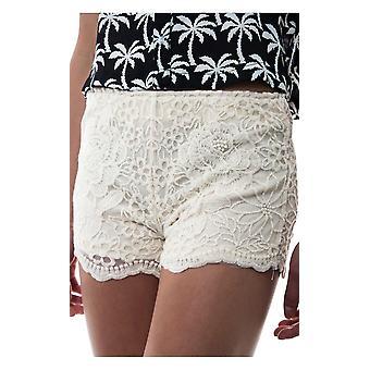 Creme Daisy Print Spitze Shorts