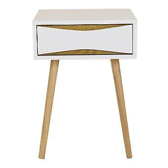 Charles Bentley Oslo 1 Schublade Nordic/Skandi Holz bett/Seite/Kaffee/Lampe/Tisch Weiß 55x40x40cm