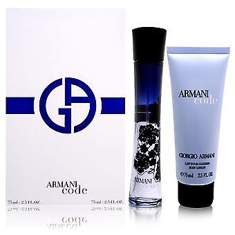 Armani código por giorgio armani para mulheres 2 peça conjunto inclui: 2,5 oz eau de parfum spray + 2,5 oz loção corporal